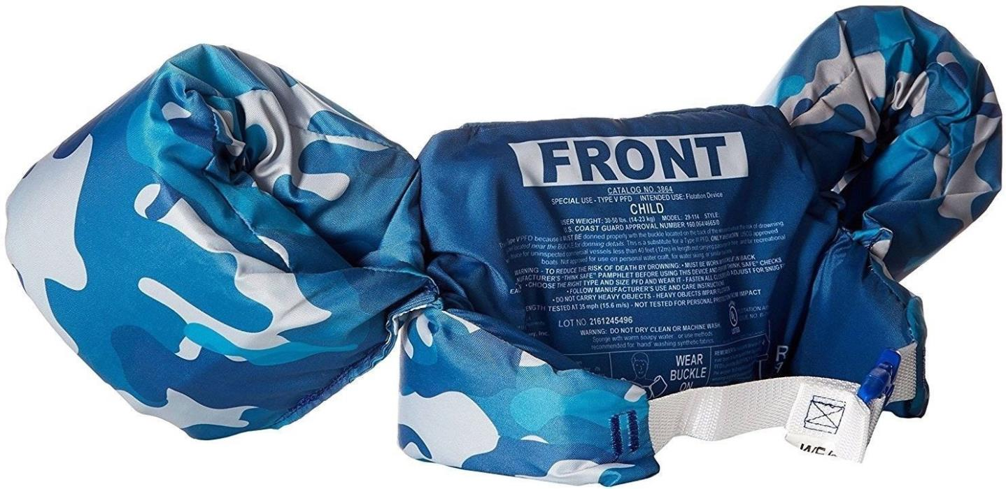 Puddle Jumper Life Jacket Safety Camouflage Blue New 30-50lbs Swimming Arm Bands