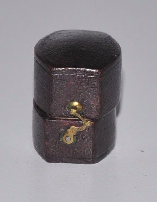 Antique Burgundy Leather Ring Box 1800's  England