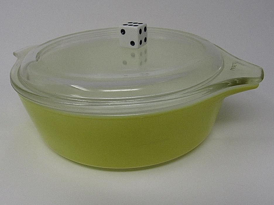 PYREX Verde Yellow-Green Casserole Dish with clear lid # 471