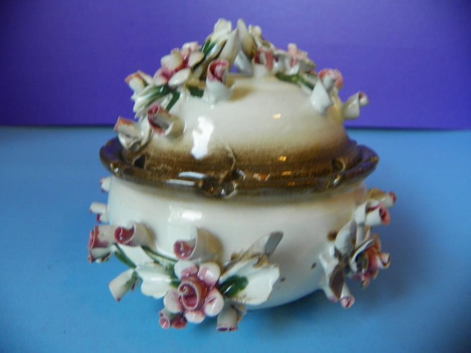 Rare Capodemonti Porcelain Trinket Box