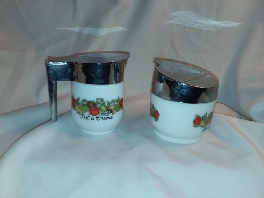 Set of creamer and sugar milk glass by Corning spice of life  #  3295