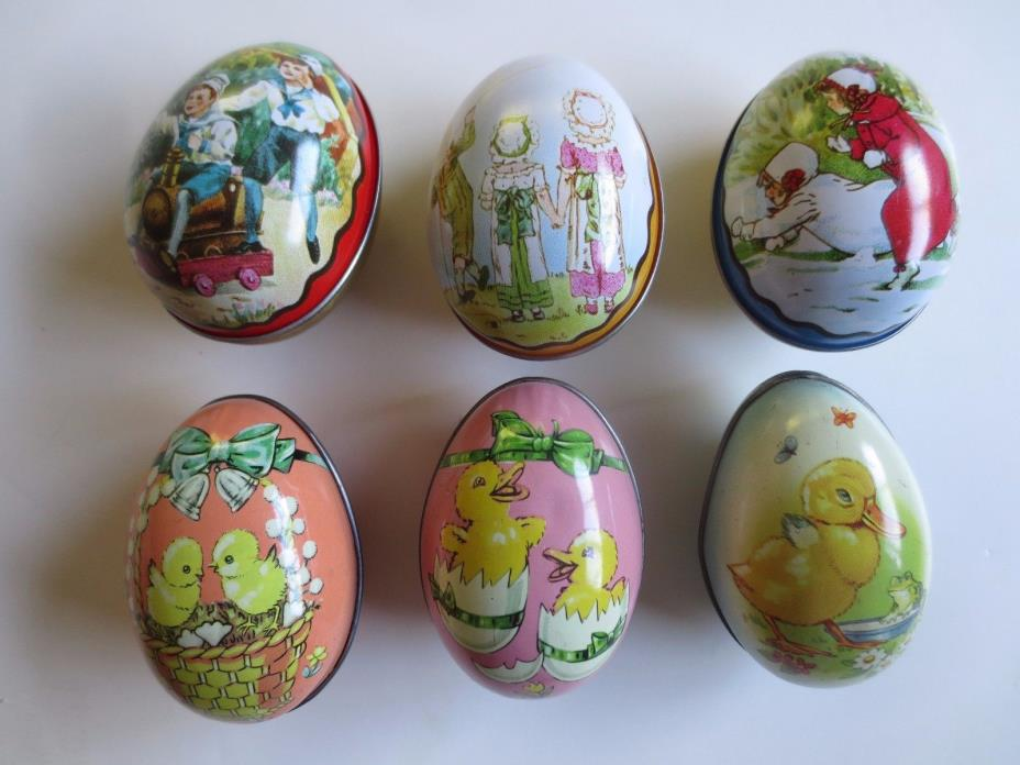 Lot of 6 vintage metal Easter egg tins (3 are Ian Logan – Swiss Made / 3 are mad