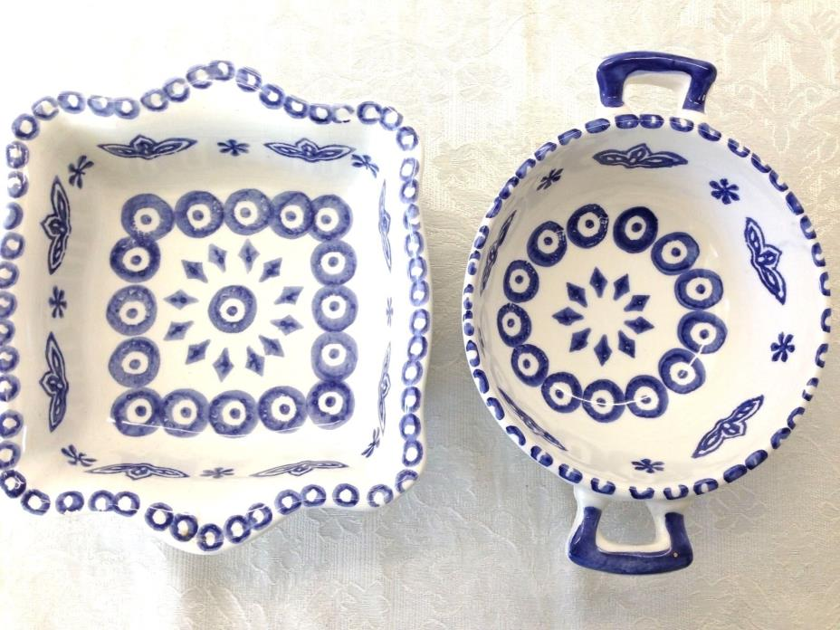 2 NEW Small Cobalt Blue White Ceramic Portugal Casserole Serving Dishes