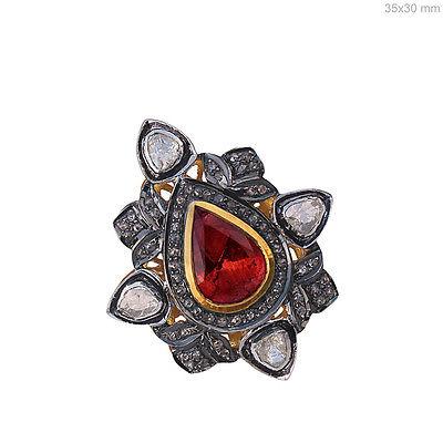 14k Yellow Gold Tourmaline Gemstone Polki Diamond Cocktail Ring Jewelry Silver