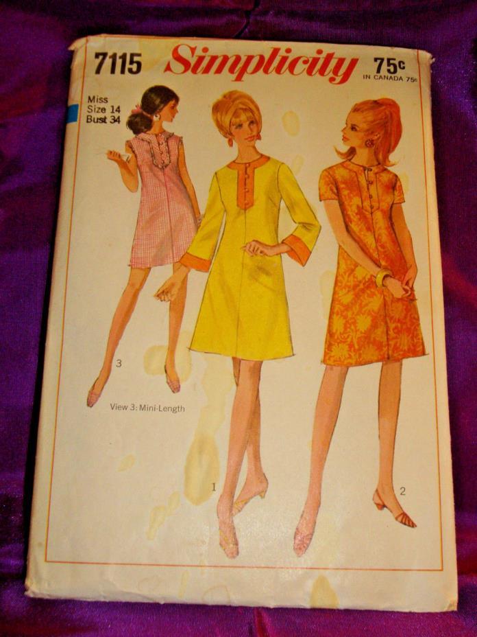 60s Mod Dress 2 Lngths Slvls Short or Long Bell Sleeve CMPLT Simplicity 7115 B34