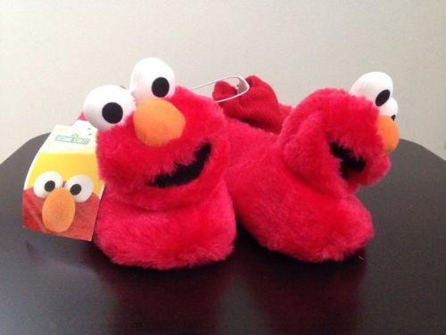 Sesame Street Toddler's Elmo Sock Top Slippers, Sz 9/10, New