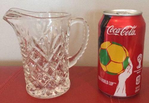 Beautiful Vintage 10 oz. Pressed Clear Glass Pitcher.  Juice L12