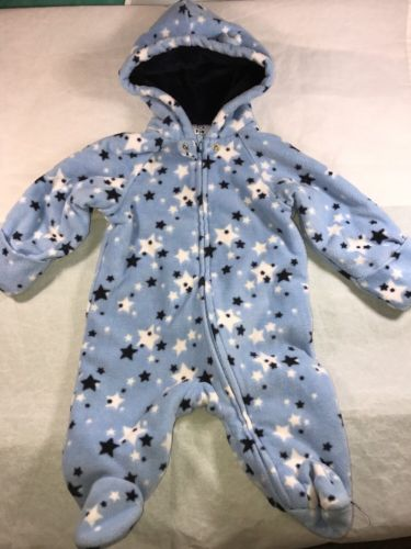 Garanimals Baby Infant Star Winter Snow Suit Full Body Outfit Sz 0-3 Months Blue