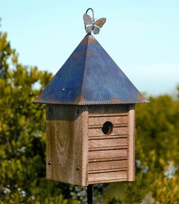 Homestead Bird House w Solid Mahogany Copper Roof [ID 9012]