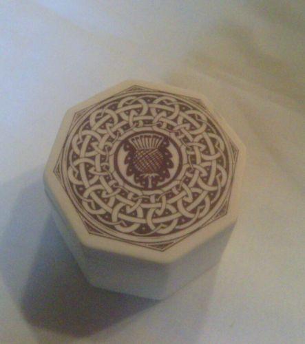 TOUCHSTONE POTTERY, Nova Scotia, Small Trinket Box, Celtic Design with Thistle