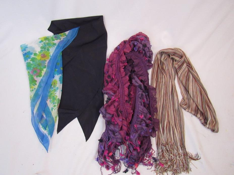 Beautiful Scarves Womens Lot of 4 Brown Purple Winter  (V007)