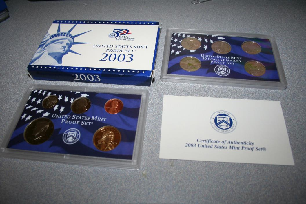 2003,US Coin Proof Set,Dollar,Kennedy Half,State Quarters,10 Coin,Free Ship,6767