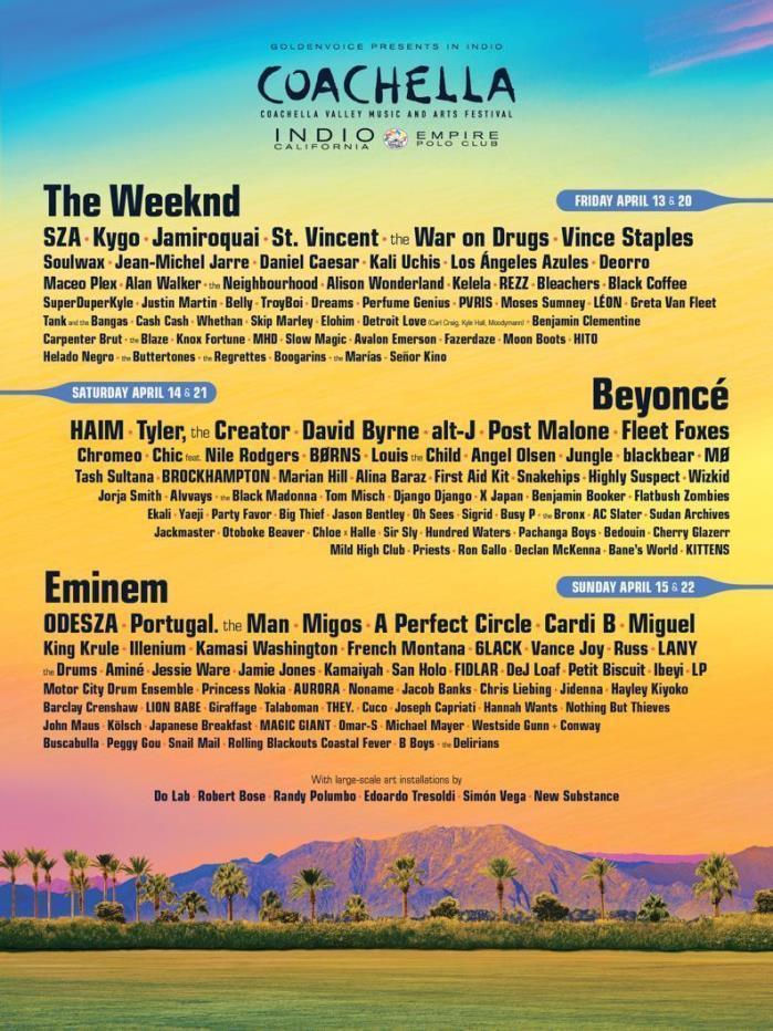 Coachella: Weekend 1: The Weeknd, Beyonce & Eminem | GENERAL ADMISSION + SHUTTLE