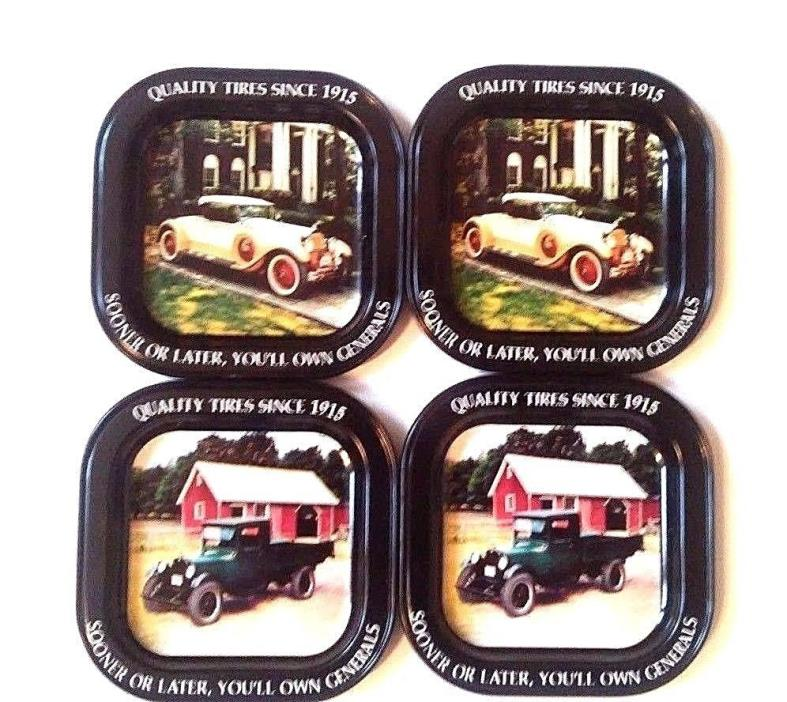 General Tire Tin Coasters 1929 Packard 1928 Chevrolet Pickup Set of 4