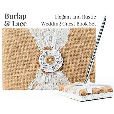 Rustic Wedding Guest Book Made Of Burlap And Lace Includes Pen Holder Silver
