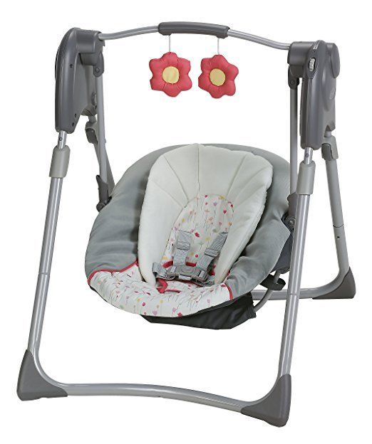 Graco Slim Spaces Compact Baby Swing Height Adjustable soft toy