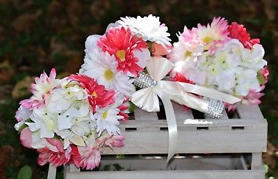 3 Pc Pink and White Daisy Wedding Bouquet Set