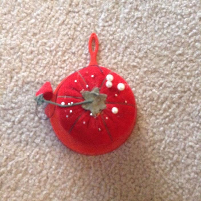 Red Tomato Sewing pin Cushion On Top of Red plastic Skillet Strawberry Japan