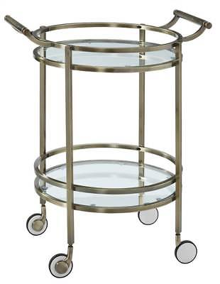 Round Serving Cart in Brass Finish [ID 3266188]