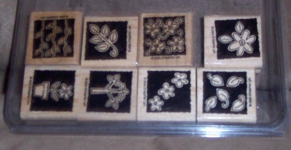 LOT OF 8 RETIRED 2003 STAMPIN' UP BRAND NEW WOOD BACKED WITH FLORAL MOTIF SET