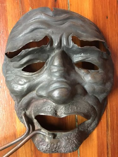 Antique Brass Japanese Kabuki Theater Mask Circa 1880's
