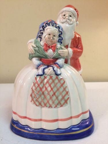 FITZ & FLOYD Vintage Ceramic Glass Santa Christmas Planter