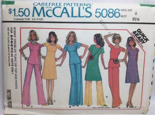 McCalls Pattern 5086 Misses DRESS TUNIC TOP PANTS For Stretch Knits Sz 8 UC