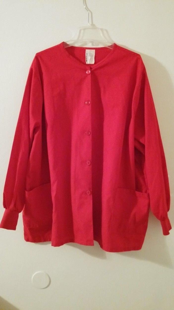 Uniform Express Red Scrubs Shirt / Top Size 3 Extra Large (22/24W) Women's