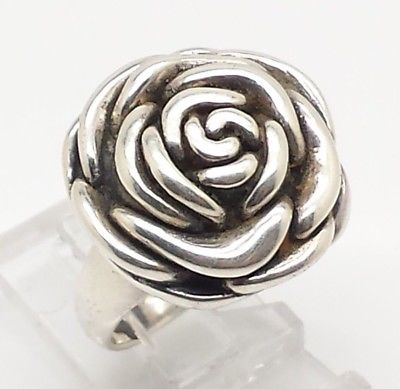 Rose Flower Puffy Design Sterling Silver 925 Ring 6g Sz.6 Y2146
