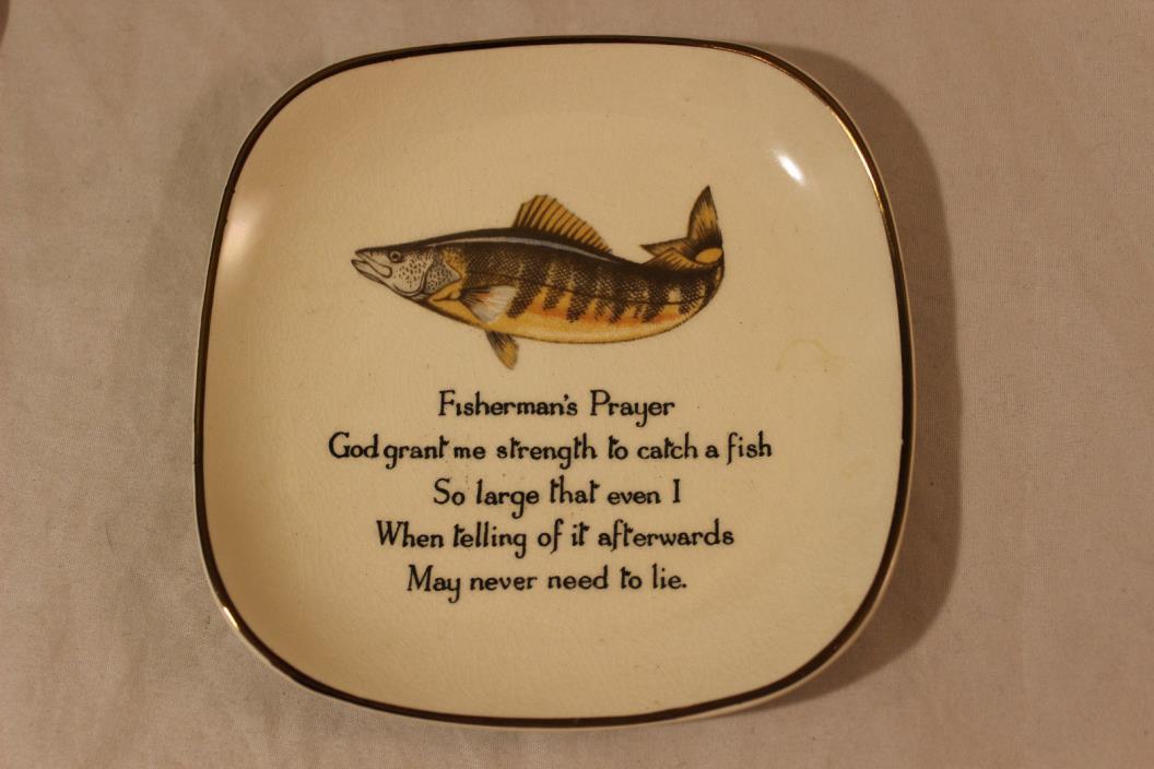 Sandland Hanley Staffordshire Fisherman's Prayer Small Tray Made in England