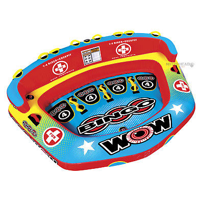 WOW Watersports 14-1080 Bingo 4 Cockpit Towable Water Tube Boat Toy 1-4 Rider