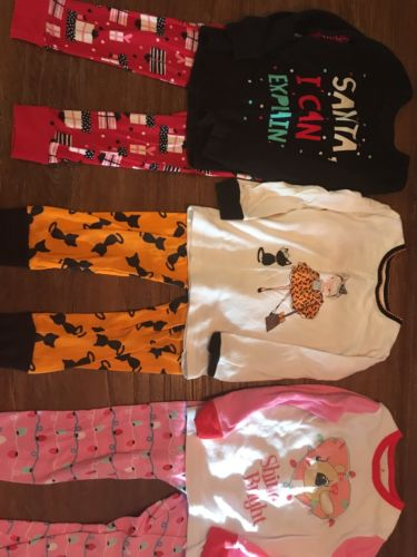 Girls Size 3-4 Halloween And Christmas Pajamas. 3 Sets