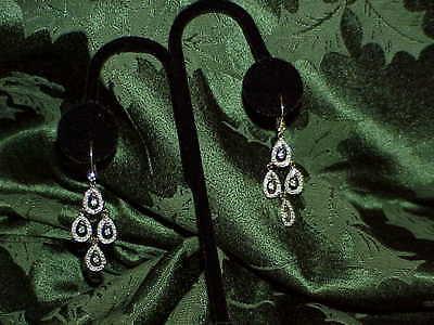 18K 1.00CT Diamond Tear Drop Chandelier Dangle Earrings Lever Back White Gold