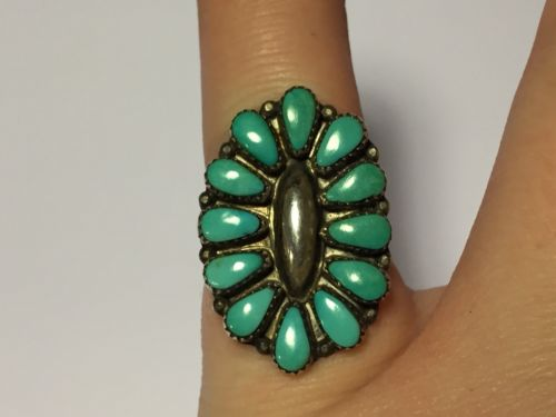 Zuni  Sterling Silver & Turquoise Ring - Needlepoint - Signed MFC