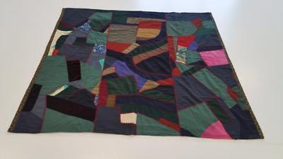 Antique Patchwork Clothing Quilt Blanket Hand Tied Sewn Fabric 1920's