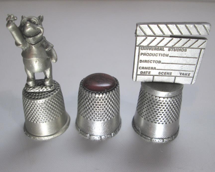 Disneyland Sleeping Beautys Castle Thimble with Winnie the Pooh and Clapperboard