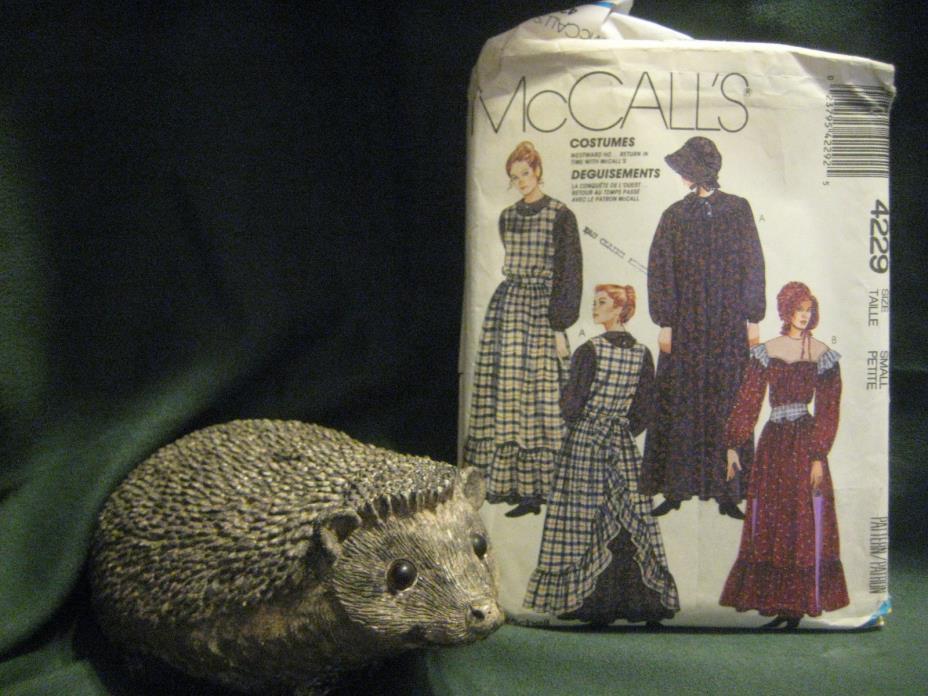 4229 Costume PATTERN women S 10-12 Pioneer Prairie Dress pinafore bonnet McCalls