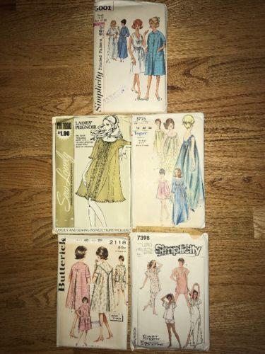 Lot Of 5 Vintage Womens Sleepwear Sewing Patterns