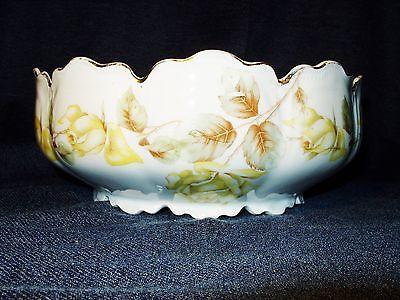 Antique Hand Painted Porcelain Floral Serving Bowl With Gilding 9