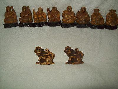 Vintage Netsuke like  Collection of 10  Asian Men & Monkeys