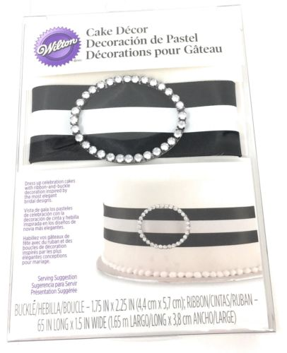 Wilton Black Ribbon & Buckle Cake Decoration For Wedding & Birthday Cakes NEW
