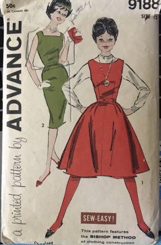 60s Advance Pattern 9188 Jumper, Sleeveless Dress Teen size 12 bust 32 waist 25
