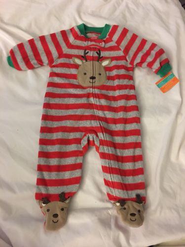 Carters Baby Reindeer 3 Months One Piece Pjs. New