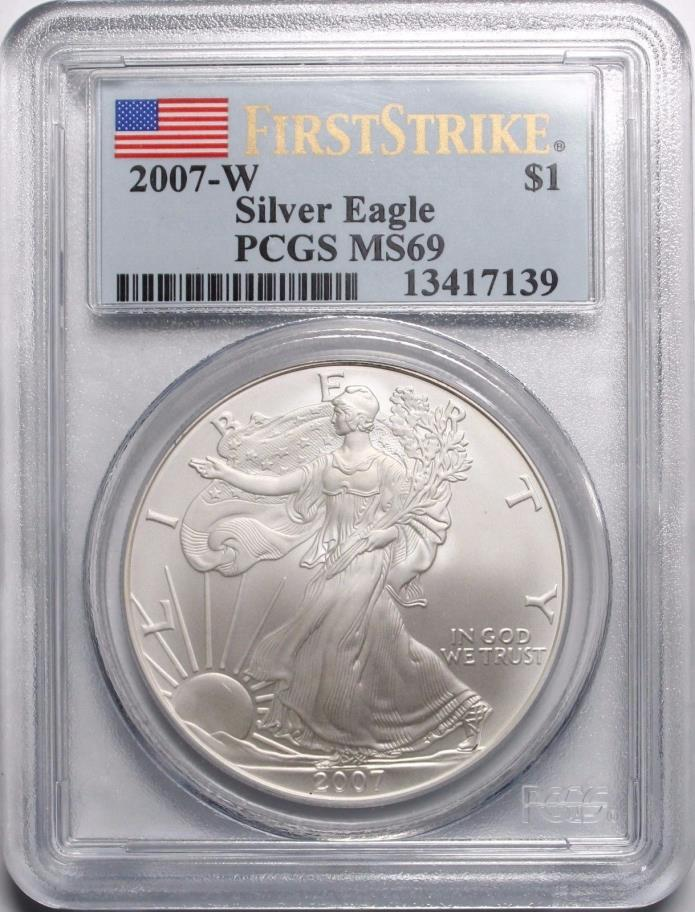 2007 W $1 Burnished American Silver Eagle PCGS MS69 First Strike
