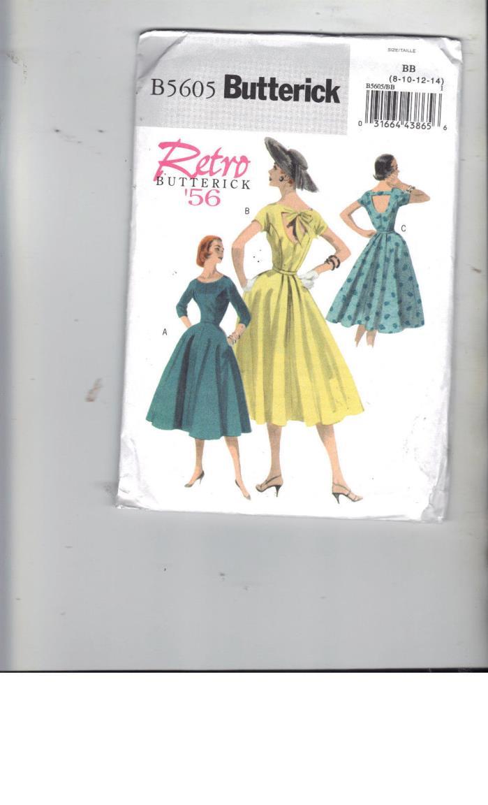 BUTTERICK Retro 1956 Style Dress Pattern B5605  Size BB 8, 10, 12, 14