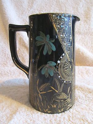 Victorian 1889 Gibson & Sons Jackfield Ceramic Pitcher Hand Painted England