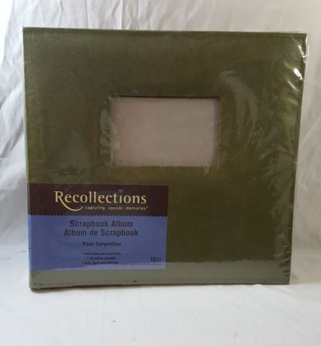 RECOLLECTIONS 12 x 12 Scrapbook ALBUM 10 pages Green Faux Serpentine Snake New
