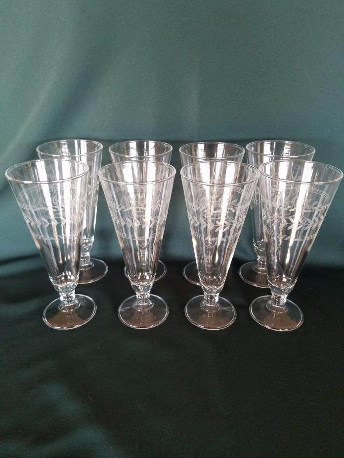 Set of 8 Vintage Needle Etched Laurel Leaf Footed Iced Tea / Parfait Glass