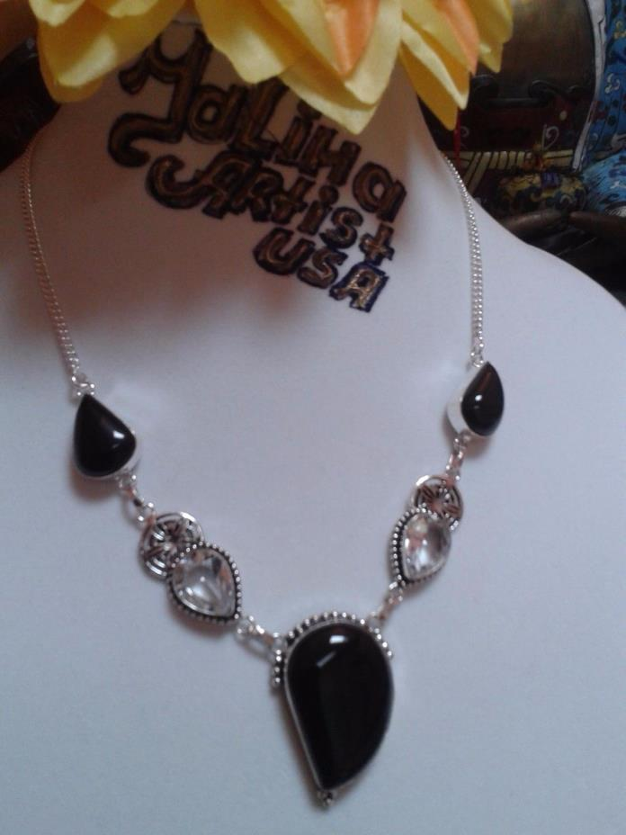 HAND MADE NECKLACE 18 INCH. GEM STONE TOPAZ GERMAN SILVER 41 GRAM