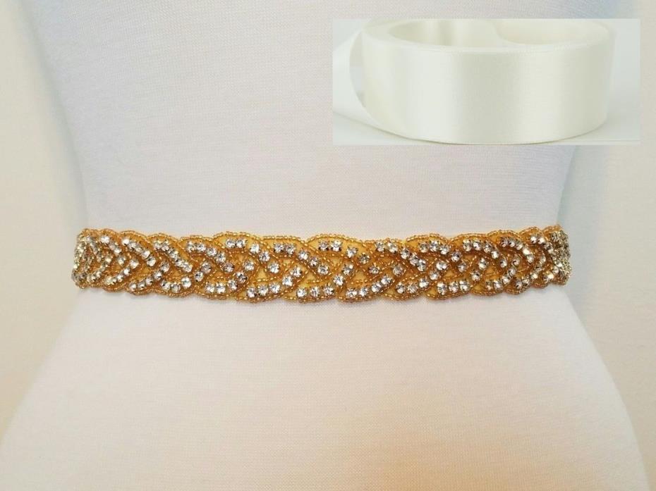 Wedding Bridal Sash Belt, GOLD CLEAR RHINESTONE Sash Belt = OFF WHITE SATIN SASH